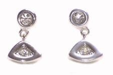 Evil Eyes Dual Diamanté Encrusted Chrome & Metal Earrings(Zx214)