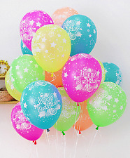 10X Assorted Latex Balloons Neon Pastel Colors Happy Birthday Party Decorations