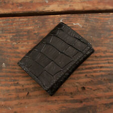 Black Alligator Trifold Wallet Amish Hand Made from Genuine Gator Skin Tri Fold