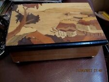 BEAUTIFUL, ITALIAN,HIGH GLOSS VARNISH,MARQUETRY MUSIC BOX,LOVELY CONDITION