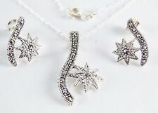 Real Marcasite Necklace & Earring Set in Solid 925 Sterling Silver 18 inch Chain