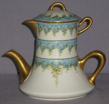 ANTIQUE 'B&CO.' LIMOGES 3-PART TEAPOT SUGAR CREAMER FLORAL ARTIST ANNA DRAKE