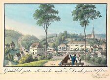 BERGGIESSHÜBEL - Gesamtansicht mit Kurpromenade - Meser - kolor. Radierung 1834