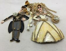 """Lunch At The Ritz """"just Married"""" Bride & Groom VERY RARE.. Pin, Brooch, Earrings"""