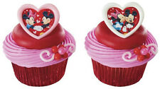 Mickey Mouse and Minnie Mouse Valentine's Day love cupcake cake topper rings