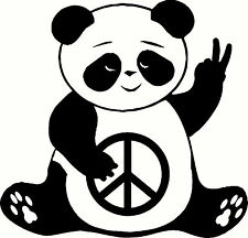 Peace Panda Decal Vinyl Home Decor Wall Car Truck Hippie Sticker FREE SHIPPING