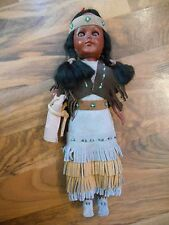 Old Vintage Native Indian Girl Woman Doll with Papoose Open Shut Eyes Plastic