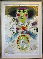 Theo Tobiasse signed abstract serigraph I Love New York Israeli Jewish artist