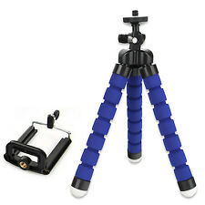 Blue Mini Flexible Stand Tripod Mount + Holder For Smart Phone iPhone