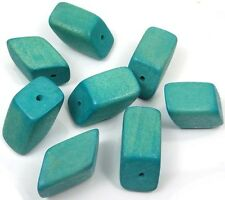 30x17mm Hedron Geometric Wood Polyhedron Figure Solid  Beads (8) - Turquoise Blu