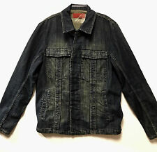FCUK French Connection Small 100% Cotton Men Washed Motorcycle Jean Denim Jacket