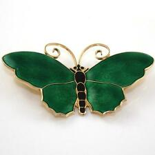 Vtg David Andersen Sterling Silver Modernist Green Enamel Butterfly Pin Brooch