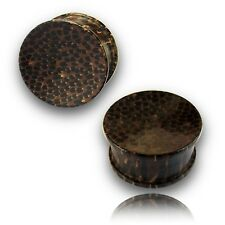 "PAIR OF 0000G 1/2"" INCH CONCAVE PALM WOOD PLUGS ORGANIC PLUG 13MM"