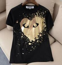 UNISEX MEN'S CDG Comme Des Garcons Tee Play Giant Golden Heart T-shirts IN LARGE
