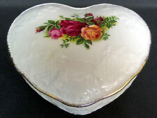 OLD COUNTRY ROSES LIDDED 'HEART' BOX, 1st QUALITY, VGC, 1993-2002, ROYAL ALBERT