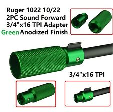 """Ruger 1022 2PC Sound Forwarder 3/4""""x16 TPI Sleeve & Muzzle Brake Adapter Green"""