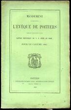 Mandement de l'EVEQUE de POITIERS pour le CAREME 1860