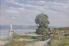 Badende am Ammersee,Erwin Kröner Impressionist,Utting