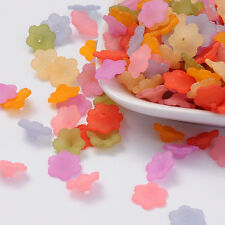 100PCS Mixed Color Transparent Frosted Acrylic Flower Bead Caps Diy Findings