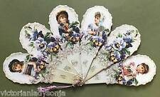 Victorian Fan Old Fashioned Children Pansies Old Print Factory