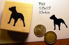 P63 Pit-bull, American Staffordshire Terrier Breed dog silhouette rubber stamp