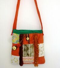 Designer Patchwork Handbag Boho Cross Body Messenger Terracotta Cotton Lined