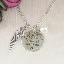 N6 Silver A Piece Of My Heart Lives In Heaven Charm Necklace - Gift Boxed