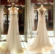 Simple Empire Pregnant Wedding Dress Maternity Bead Beach Bridal Gowns size 2-22