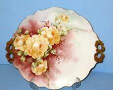 Antique LIMOGES Cake Serving Plate HAND PAINTED YELLOW ROSES Artist SINGNED