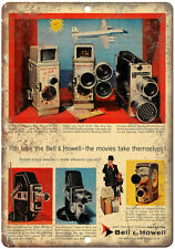 """Bell & Howell Movie Camera vintage advertisment 10"""" x 7"""" reproduction metal sign"""