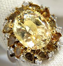 GIA 12.68CT NATURAL NO HEAT FANCY YELLOW SAPPHIRE DIAMONDS CLUSTER RING 18KT