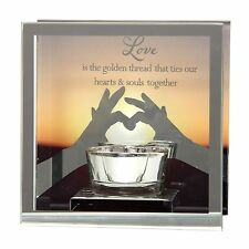 "Reflections of the heart Mirror Tea light candle holder  ""LOVE"""