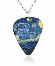 Van Gogh Starry Night Guitar Pick Pendant Necklace - Glossy Glitter Finish NEW