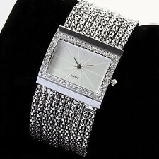 New Comely Quartz Women's Silver Tone Band Rhinestone Bangle Bracelet Watch