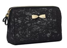 VICTORIA'S SECRET BLACK LACE LARGE BEAUTY BAG MAKEUP COSMETIC CASE PURSE TRAVEL