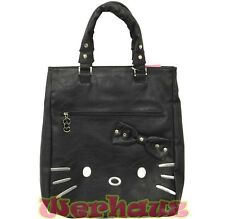 Sanrio Hello Kitty Tote Shoulder Bag PU Leather Black, NEW