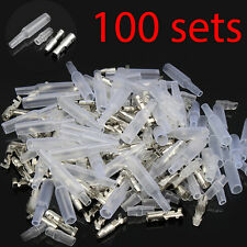 100 Sets 4mm Motorcycle Bullet Wire Connector Male Female Socket Crimp Terminal
