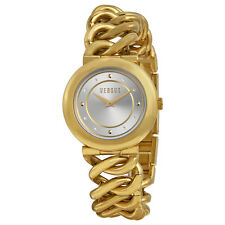 Versus by Versace Brickell Silver Dial Gold Ion-plated Chain Link Ladies Watch