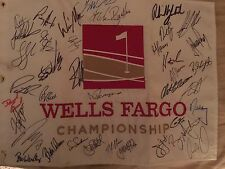 2015 Wells Fargo Championship Signed Flag Mickelson, Furyk, Stenson. 43 Players