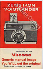 1968 Zeiss Ikon Voigtlander Vitessa 126CS Instamatic Camera Instruction Leaflet