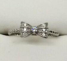 Gorgeous CZ SOLID sterling Silver Bow / Ribbon Ring Sz 9