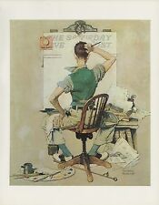 "1977 VINTAGE ""THE ARTIST"" BLOCK NORMAN ROCKWELL MINI POSTER COLOR Art Lithograph"