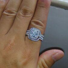 14K White Gold Diamond Engagement Ring Wedding Band Bridal Ring Set 1.6/7CT