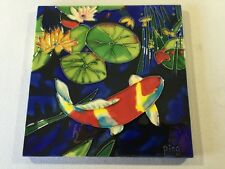 Decorative Ceramic Tile Asian Koi Fish Lilly Pad Signed Ping
