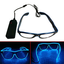 NEW Hot El Wire Neon LED Light Up Shutter Shaped Glasses For Rave Costume Party