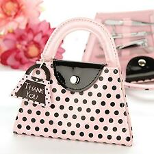 Wedding Party Xmas Bridal Shower Gift Pink Polka Dot Purse Manicure Set Tool Kit