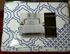 Max Studio Full/Queen Quilt Morrocan Style White Blue 88X92 New