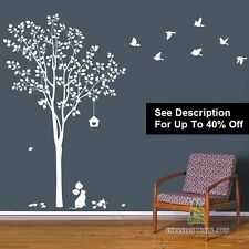 Wall Stickers Tree Bird Family Tree Flower Nursery Kids Wall Art Sticker@=-D368