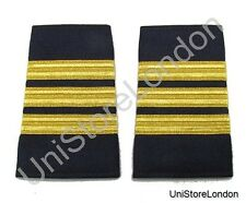 Epaulet Pilot Epaulette Sliders 3 Gold Mylar Bars First Officer Navy Blue R1300