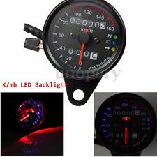 Universal Motorcycle Dual Speedometer + Odometer Gauge K/mh LED Backlight Signal